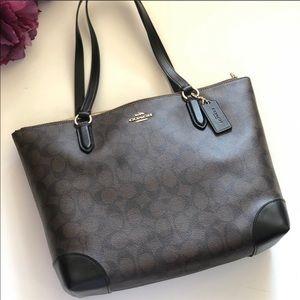 Coach Brown Signature Leather Zipper Tote Bag